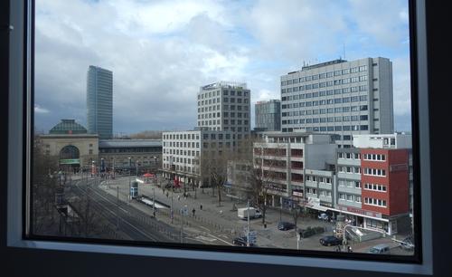 Blick auf dem Bahnhofsvorplatz in Mannheim
