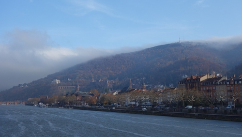 Blick auf den Königstuhl, das Schloss und die Altstadt