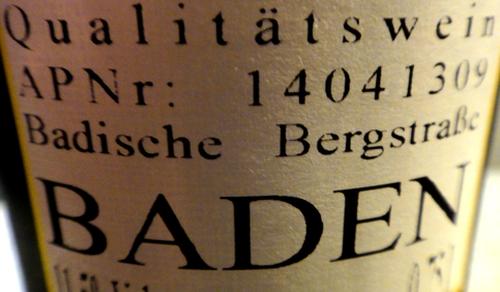 Ein Qualitätswein aus Baden