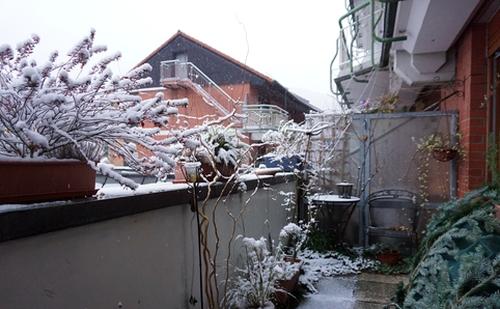Mein Balkon im Schnee