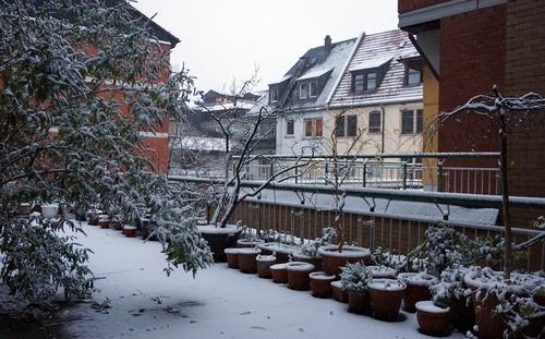 Unsere Terrasse im Schnee