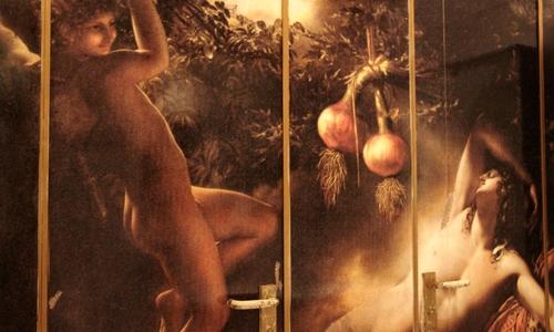 Toilettentür im Olivenbaum
