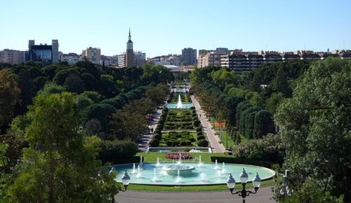 Blick von oben über den Park